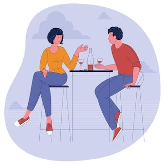 Platte ontwerp illustratie van romantische date. man en vrouw zitten het restaurant wijn drinken.