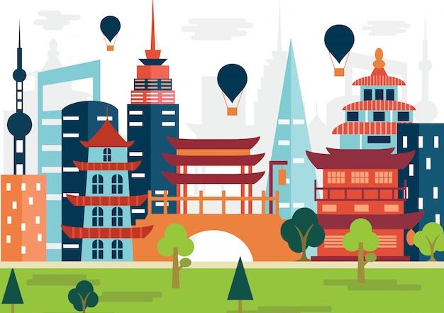 Platte ontwerp illustratie van stad in china