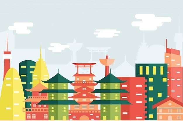 Platte ontwerp illustratie van stad in japan