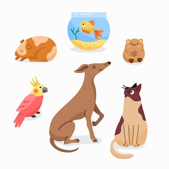Platte ontwerp illustratie verschillende huisdieren set