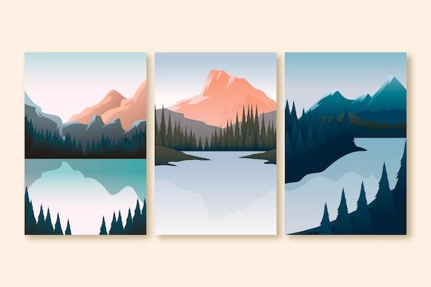 Platte ontwerp illustratie verschillende landschap collectie