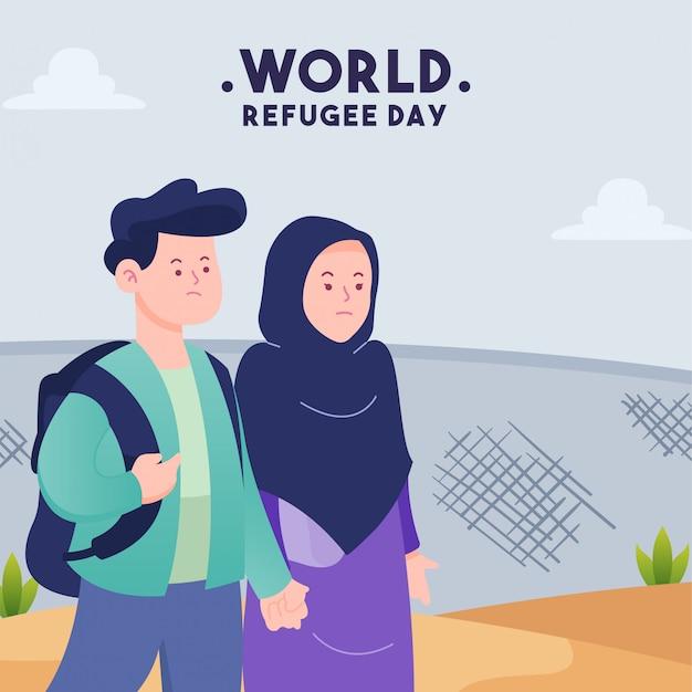 Platte ontwerp illustratie vluchtelingendag