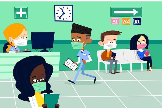 Platte ontwerp illustratie ziekenhuis receptie scène