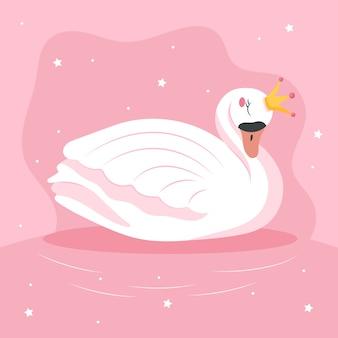 Platte ontwerp illustratie zwaan prinses