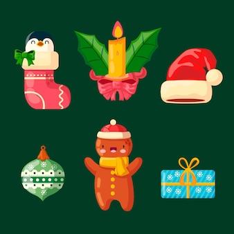 Platte ontwerp illustraties kerst element collectie
