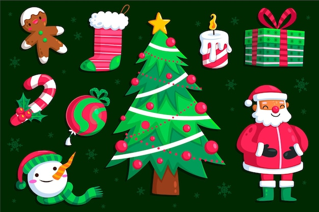 Platte ontwerp illustraties kerst element pack