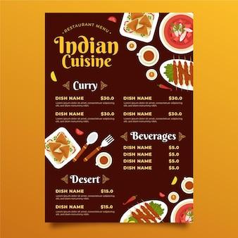 Platte ontwerp indiase menusjabloon