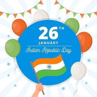 Platte ontwerp indiase republiek dag achtergrond