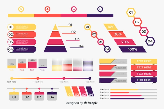 Platte ontwerp infographic element collectie