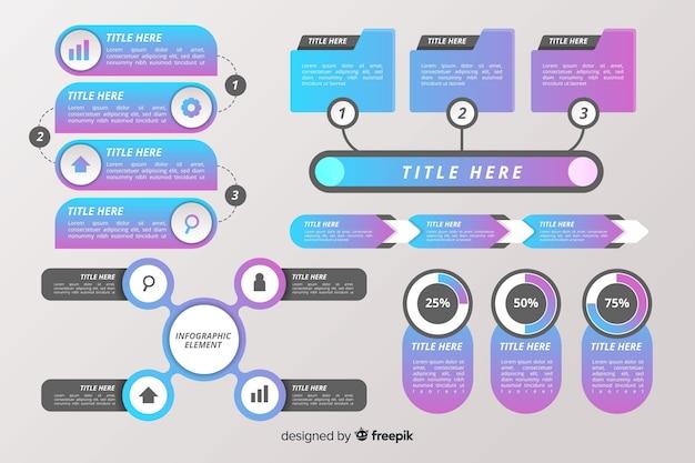 Platte ontwerp infographic element collectie