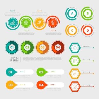 Platte ontwerp infographic elementen collectie