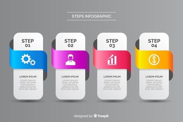 Platte ontwerp infographic in gestileerde stappen