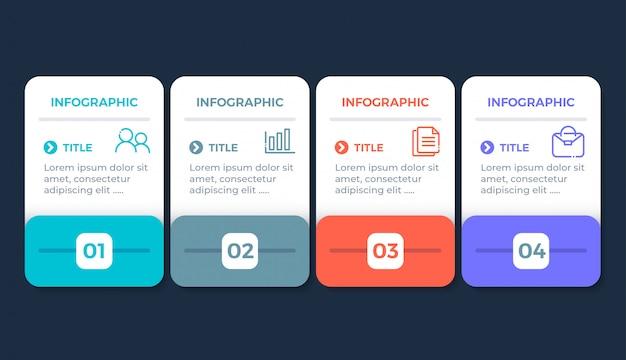 Platte ontwerp infographic met 4 opties
