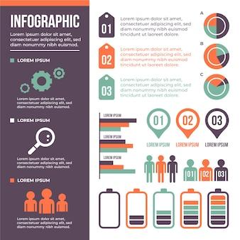 Platte ontwerp infographic met retro kleuren ontwerp
