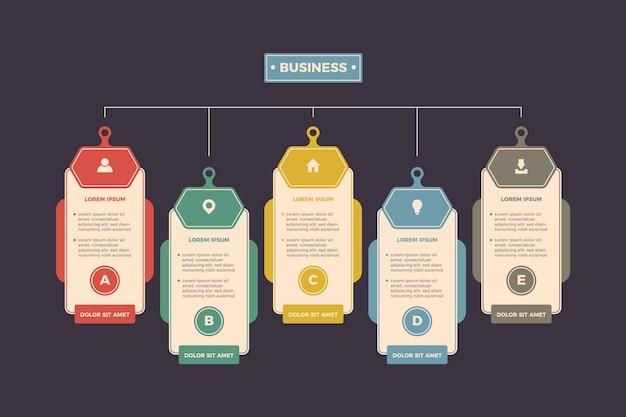 Platte ontwerp infographic met retro kleuren