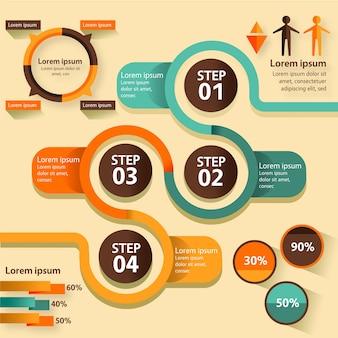Platte ontwerp infographic met vintage kleuren