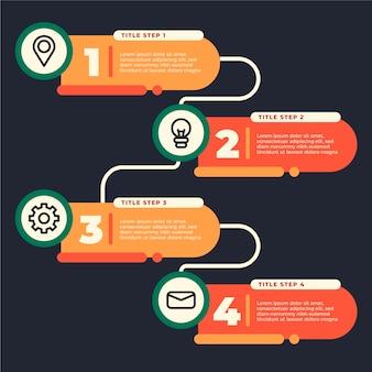 Platte ontwerp infographic stappen sjabloon