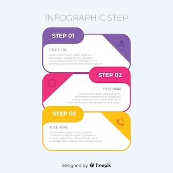 Platte ontwerp infographic stappen