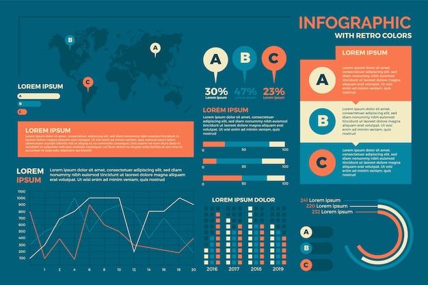 Platte ontwerp infographics met retro kleuren