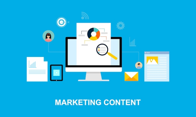 Platte ontwerp inhoud marketing systeem illustratie