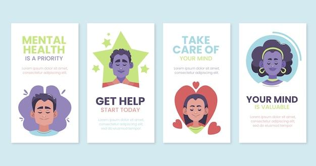 Platte ontwerp instagramverhalen over geestelijke gezondheid