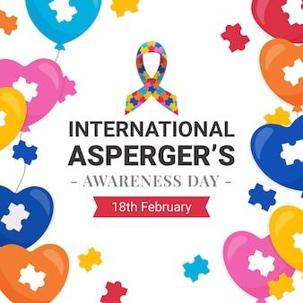Platte ontwerp internationale asperger bewustwordingsdag achtergrond