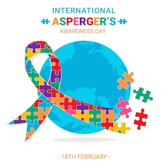 Platte ontwerp internationale asperger's bewustmakingsdag