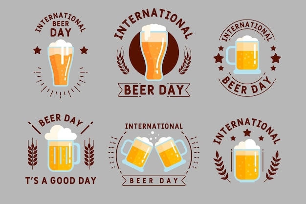 Platte ontwerp internationale bierdag badges collectie