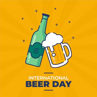 Platte ontwerp internationale bierdag concept