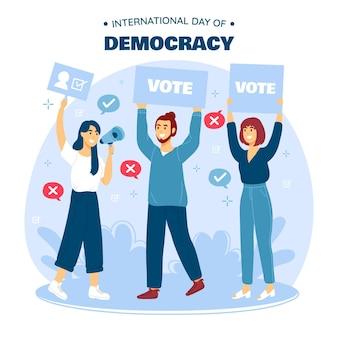 Platte ontwerp internationale dag van de democratie met mensen