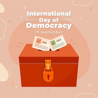 Platte ontwerp internationale dag van de democratie