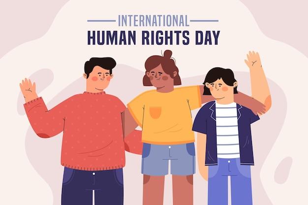 Platte ontwerp internationale dag van de mensenrechten met vrienden