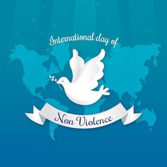 Platte ontwerp internationale dag van geweldloosheid concept