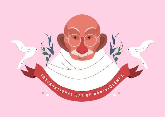 Platte ontwerp internationale dag van geweldloosheid