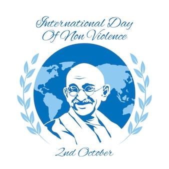Platte ontwerp internationale dag van geweldloze vertegenwoordiging geïllustreerd