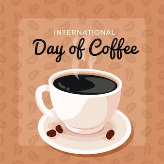 Platte ontwerp internationale dag van koffie achtergrond met kopje