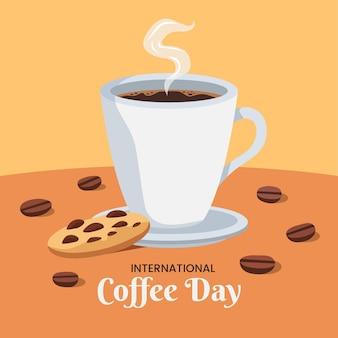 Platte ontwerp internationale dag van koffie en koekje