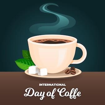 Platte ontwerp internationale dag van koffie
