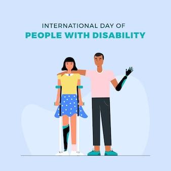 Platte ontwerp internationale dag van mensen met een handicap