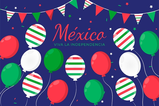 Platte ontwerp internationale dag van mexico ballonnen achtergrond