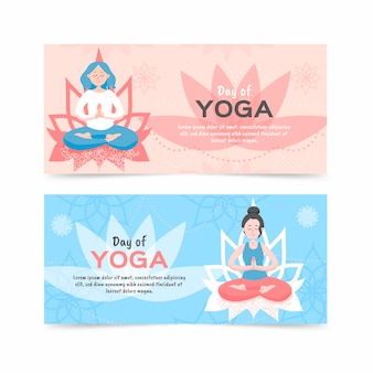 Platte ontwerp internationale dag van yoga banner