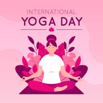 Platte ontwerp internationale dag van yoga concept
