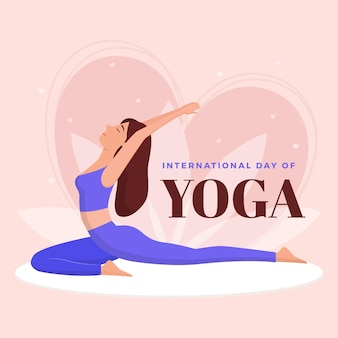 Platte ontwerp internationale dag van yoga
