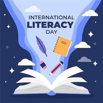 Platte ontwerp internationale geletterdheid dag concept