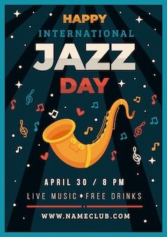 Platte ontwerp internationale jazz dag poster sjabloon