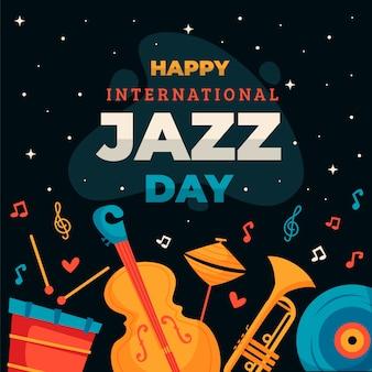 Platte ontwerp internationale jazzdag concept
