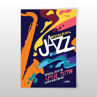 Platte ontwerp internationale jazzdag flyer