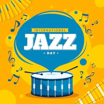 Platte ontwerp internationale jazzdag illustratie