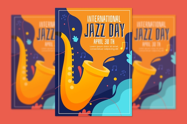 Platte ontwerp internationale jazzdag poster