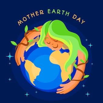 Platte ontwerp internationale moeder aarde dag evenement ontwerp